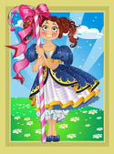 Small brunette girl with candy on Fairytale landscape — Stock Vector