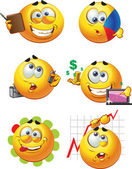 Set of batch round business smiles — Stock Vector
