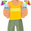 Vector smiling boy and drinks — Stock Vector
