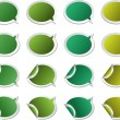Stock Vector: Colored stickers speech bubbles elements for design in green color