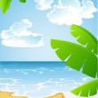 Stock Vector: Sunny summer sandy beach