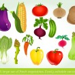 A large set of fresh vegetables. Easily editable vector — Vektorgrafik
