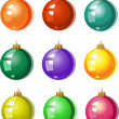 A set of Christmas tree ornaments - colored balls — Stok Vektör