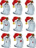 蓝色可爱有趣避孕套微笑在新的一年圣诞老人的衣服 — 图库矢量图片