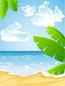 Sunny summer sandy beach — Stock Vector