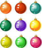 A set of Christmas tree ornaments - colored balls — Vettoriale Stock