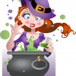 Stock Vector: Witch with copper of poison
