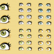 Beautiful female eyes with different expressions — Stok Vektör