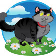 Black fat cat on the color background — Stock Vector