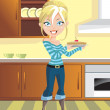 Blond on the Kitchen — Stock Vector