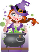 Witch with copper of poison — Stock Vector
