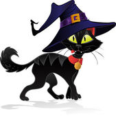 Black terrible witch Halloween cat — Stock Vector