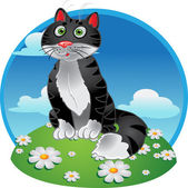 Black funny sitting cat on color background — Stock Vector
