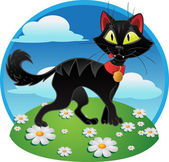 Black fun terrible cat on color background — Stock Vector
