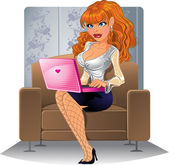 Blond girl with computer on the brown armchair — Stock Vector