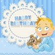 Happy Birthday blue openwork card for your greetings to baby boy — Stock Vector