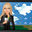 Blond girl and weather news — Stok Vektör