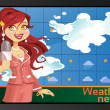 Red-haired reporter girl with speech bubble on monitor or TV — Векторная иллюстрация