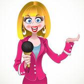 矢量记者套粉红色的西装穿衣服的女孩 — 图库矢量图片