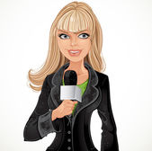 Reporter girl with microphone — Stock Vector
