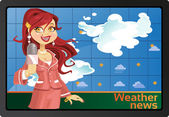 Red-haired reporter girl with speech bubble on monitor or TV — Stock Vector