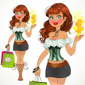 Sweet shopping fashion girl — Stock Vector
