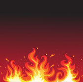 Hot fire on black — Stock Vector