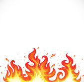 Hot fire on white — Stock Vector