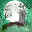 Halloween decorations tombstone on Halloween card — Stockvektor