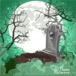 Halloween decorations tombstone on Halloween card — Stock Vector