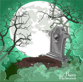 Halloween decorations tombstone on Halloween card — Stock Vector