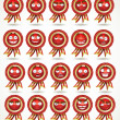 Vector set of red awards in various emotional states — Stock Vector