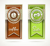 Green eco friendly and coffee template banner collection — Stock Vector