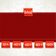 Stock Vector: Red environment arrival label sale percents on fabric