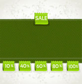 Spring green environment arrival label sale percents on the fabr — Stock Vector