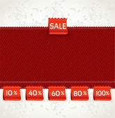 Red environment arrival label sale percents on the fabric — Stock Vector