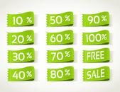 Green arrival label sale percents — Stock Vector