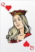 Queen of heart. Deck romantic graphics cards — Stock Vector