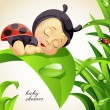 Newborn child dressed as ladybug — Stock Vector