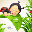 Newborn child dressed as ladybug — Stockvectorbeeld