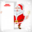 Cute Santa Claus holding banner and sparkler — Stock Vector