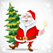 Cute Santa Claus holding Christmas tree — Stock Vector