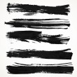 Realistic black gouache on paper texture strokes strips — Stock Vector