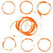 Set of vector orange circle prints on paper — Stock Vector
