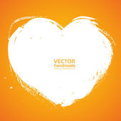 Heart background smear paint bristle brush on orange — Stock Vector