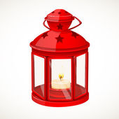 Red festive lantern with a candle inside isolated on white background — Stock Vector
