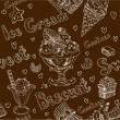 Ice cream dark seamless background — Stockvectorbeeld