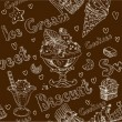 Ice cream dark seamless background — Imagen vectorial