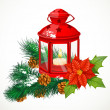 Christmas lantern with a candle on spruce branch — Stockvektor