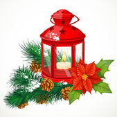 Christmas lantern with a candle on spruce branch — Vecteur